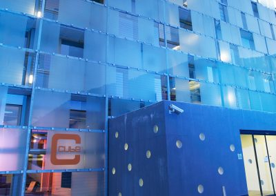 cube hotel glass facade outdoor lights