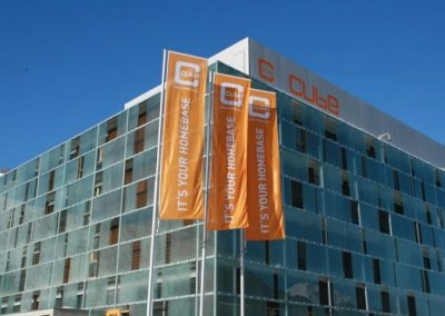 cube hotel - outdoor summer flags