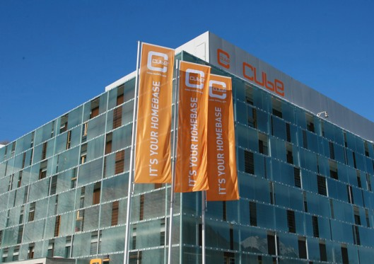 cube hotel outdoor summer flags