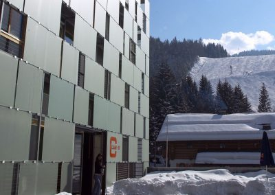 cube hotel winter directy at slope
