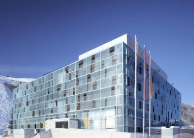 cube hotel - winter exterior view